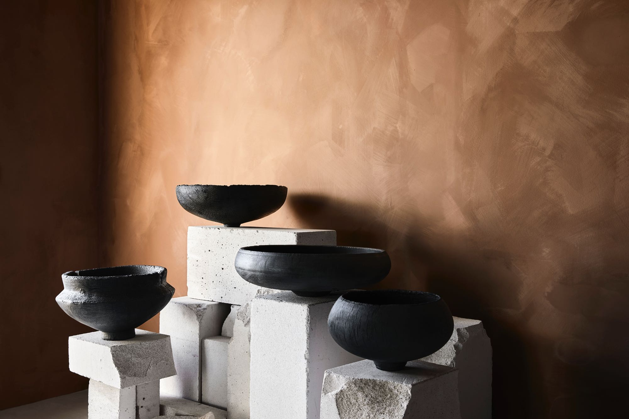 Makiko Ryujin's 'Shinki' charred vessels - part of the Work Shop  Ideas to Intuition  exhibition.
