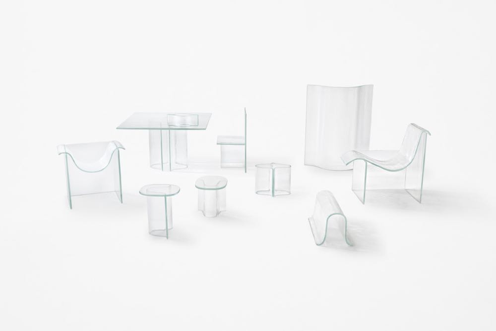 The full 'Melt' furniture collection by Nendo for WonderGlass.