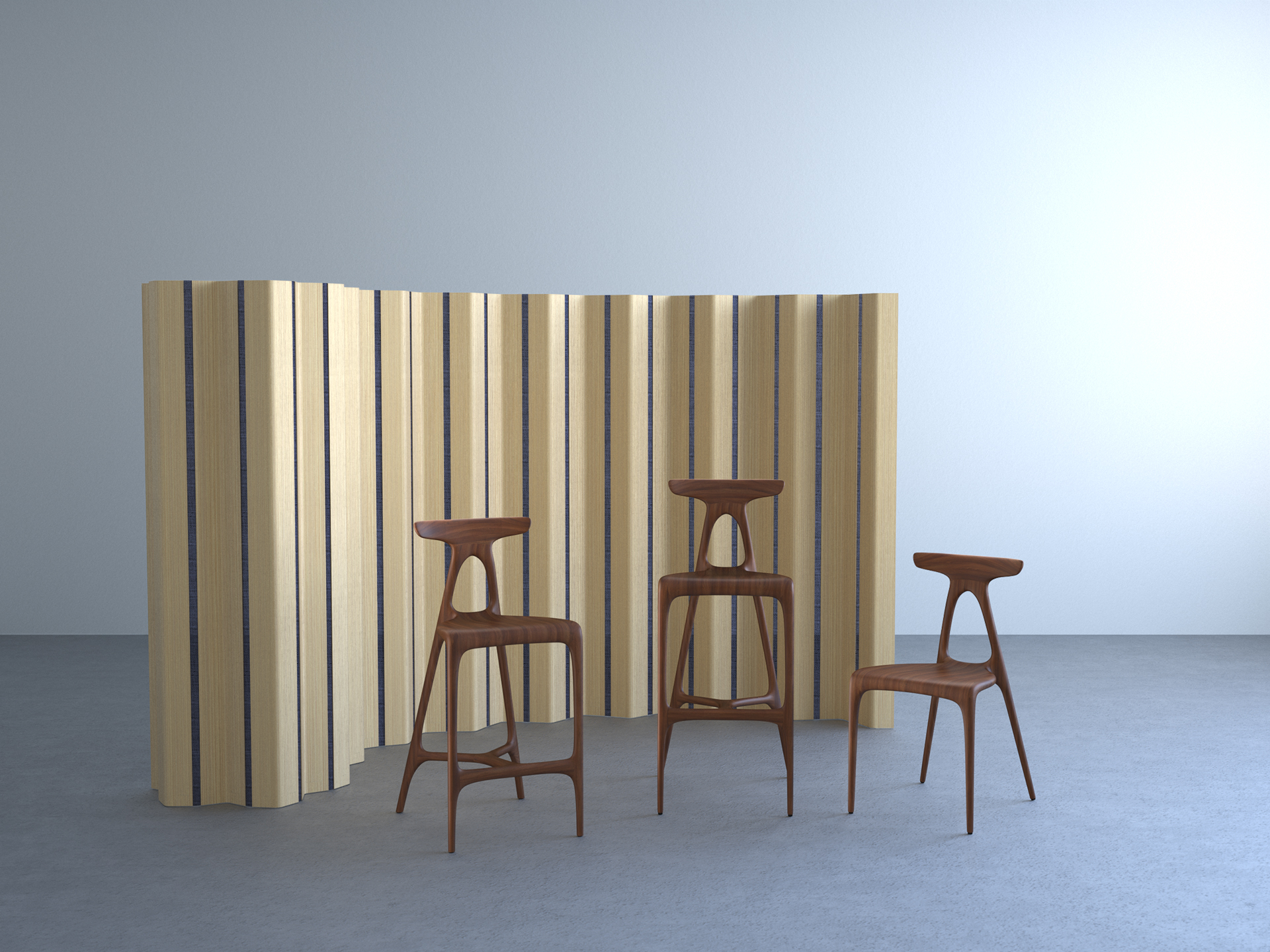 Brodie Neill's  Made in Ratio  will be showing a new screen / room divider called 'Theorem' along with extensions to their successful 'Alpha' chair in the form of a barstool in two heights. Both stools exhibit the same sinuous form as the chair.
