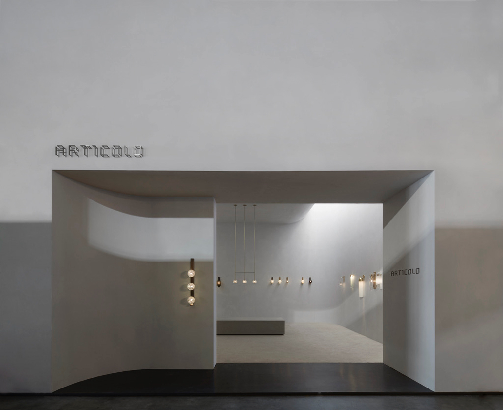 The entrance to Articolo's stand at Euroluce in Milan. The brand officially launched into the European market in April. Stand design by Studio GOSS. Photography by Willem-Dirk du Toit.