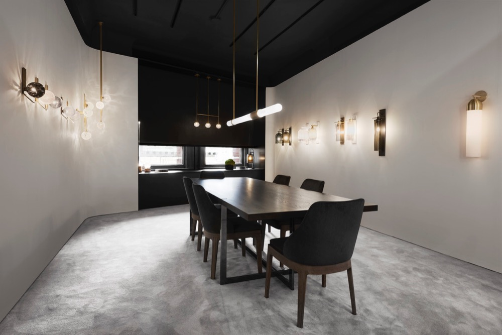 The interior of the new Articolo showroom on Broadway in New York opened just two weeks ago. Architecture by Studio GOSS. Too many lights to credit! Photography by Brooke Holm.