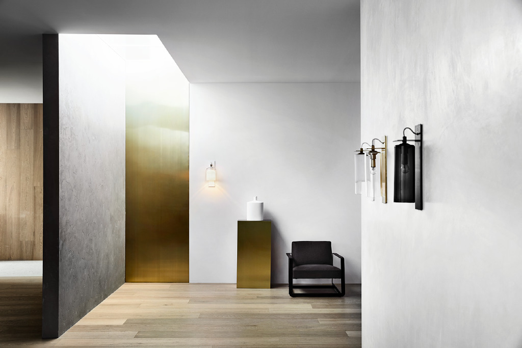 The interior of Articolo's flagship store at 18 Walis st Richmond, Victoria, showing the use of burnished plaster walls, oak flooring and brass details. Photography by Sharyn Cairns.