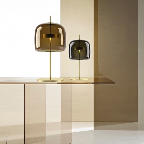 The new Jube light by Favaretto & Partners for well known Italian lighting brand Vistosi. This lovely looking light comes with either an amber or smoked glass shade LED light source, brass base and stem. @vistosi_lighting @favarettoandpartners #vistosi #vistosilighting #jubetablelight #tablelamps #tablelights