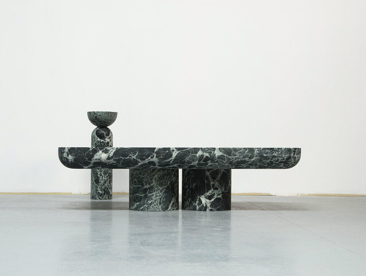 Joris Poggioli's exquisitely proportioned green marble tables from his new  Eden Paradiso  collection .