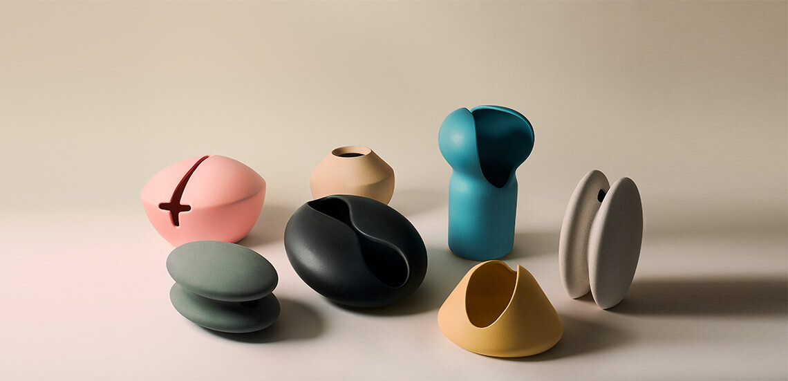 Just one group of the huge number of vessels on display at the exhibition 1000 vases on show at Espace Commines. These vases are by  Platalea Studio .
