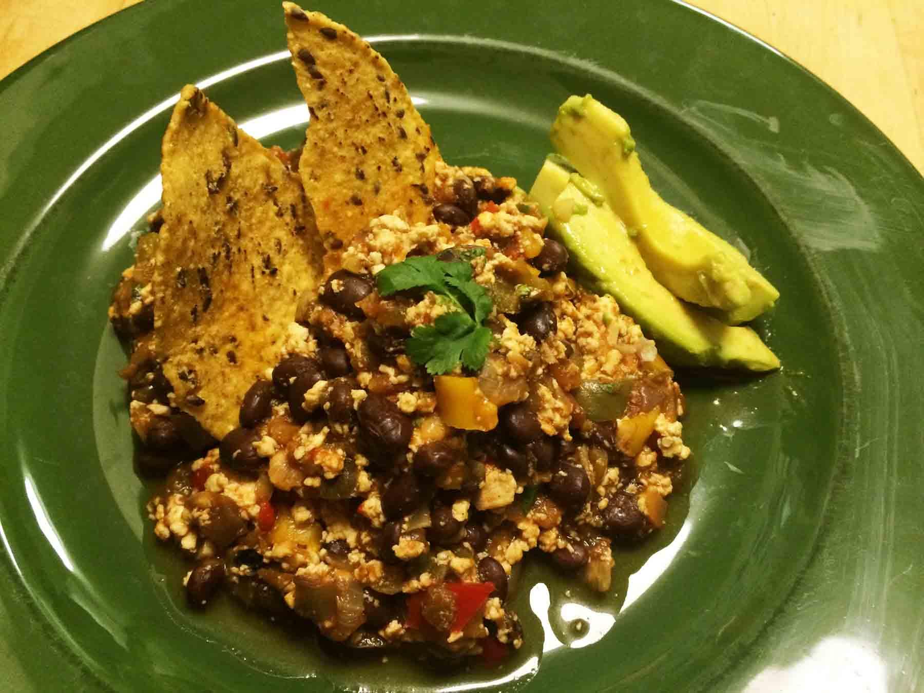 Avocado and tortilla chips make nice plate mates.