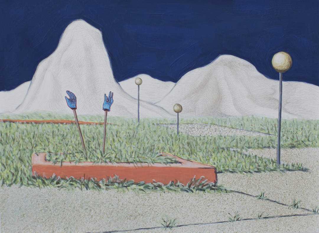 """Valdarno #5 , 2013, gouache and silverpoint on paper, 7"""" x 9.75"""""""