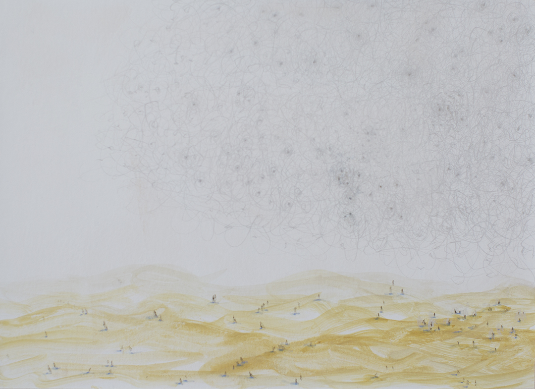 """Valdarno #7 , 2013, gouache and silverpoint on paper, 7"""" x 9.75"""""""