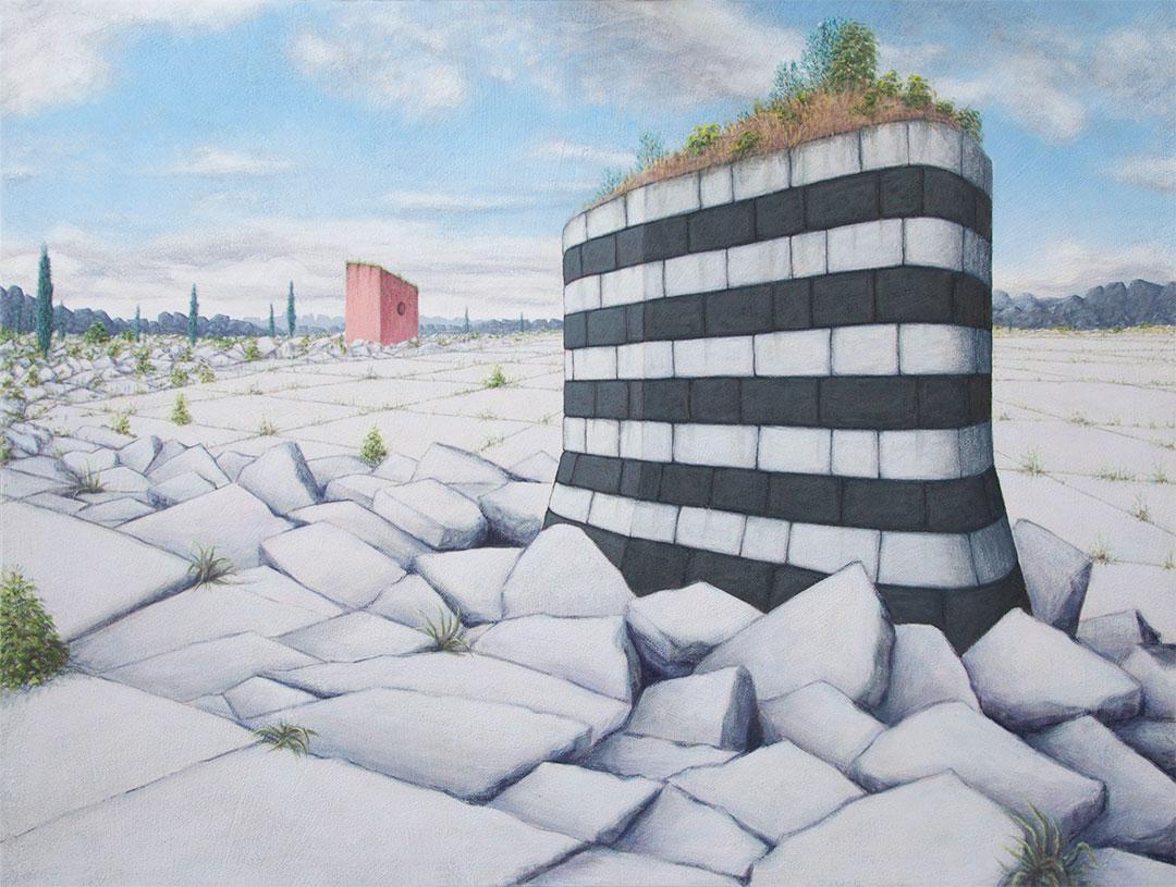 """Tectonica , 2014, flashe on panel, 46""""x60"""""""