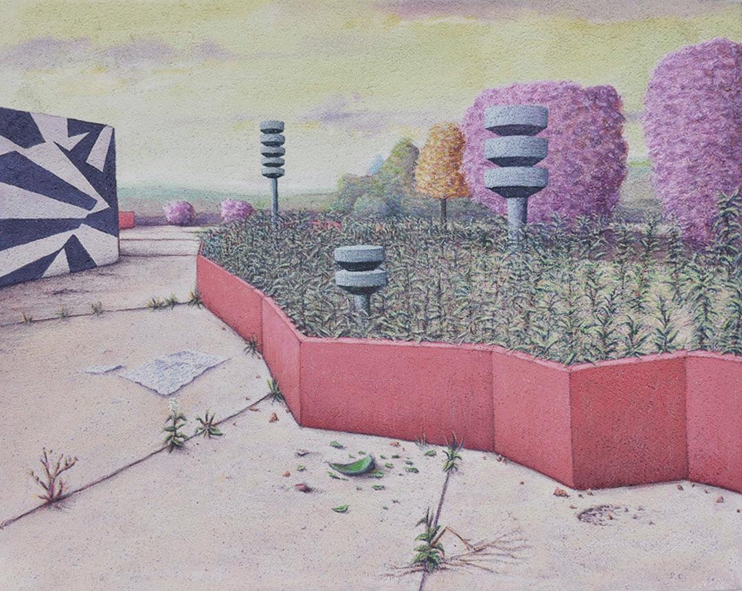 "Walled Garden , 2013, flashe on panel, 16""x20"""