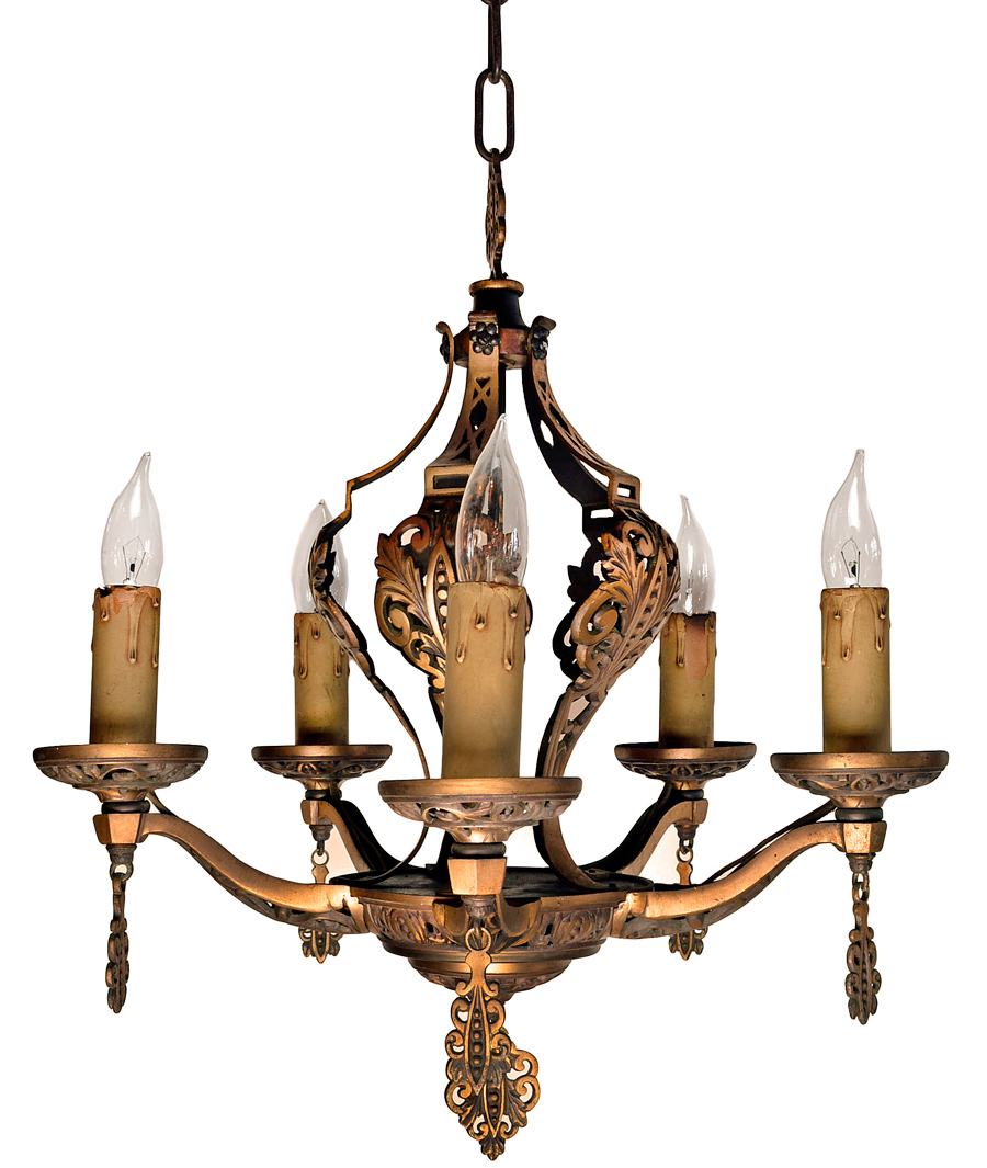BRONZE FIVE-CANDLE CHANDELIER WITH TASSELS