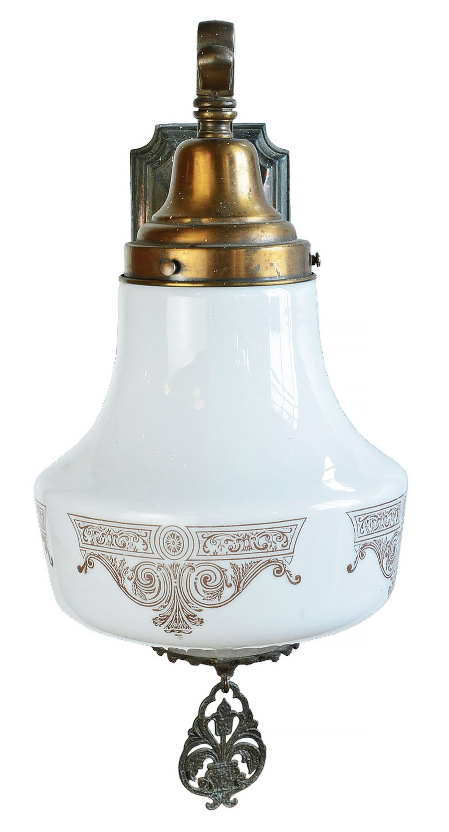 SINGLE ARM SCONCE WITH PAINTED MILK GLASS GLOBE