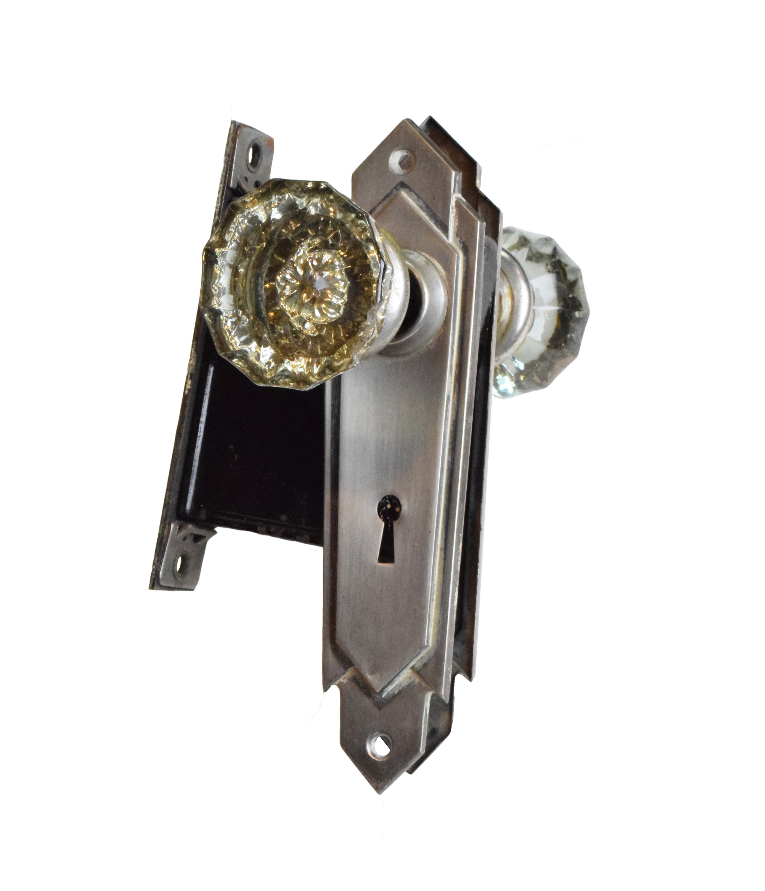 glass knob set with geometric art deco plates