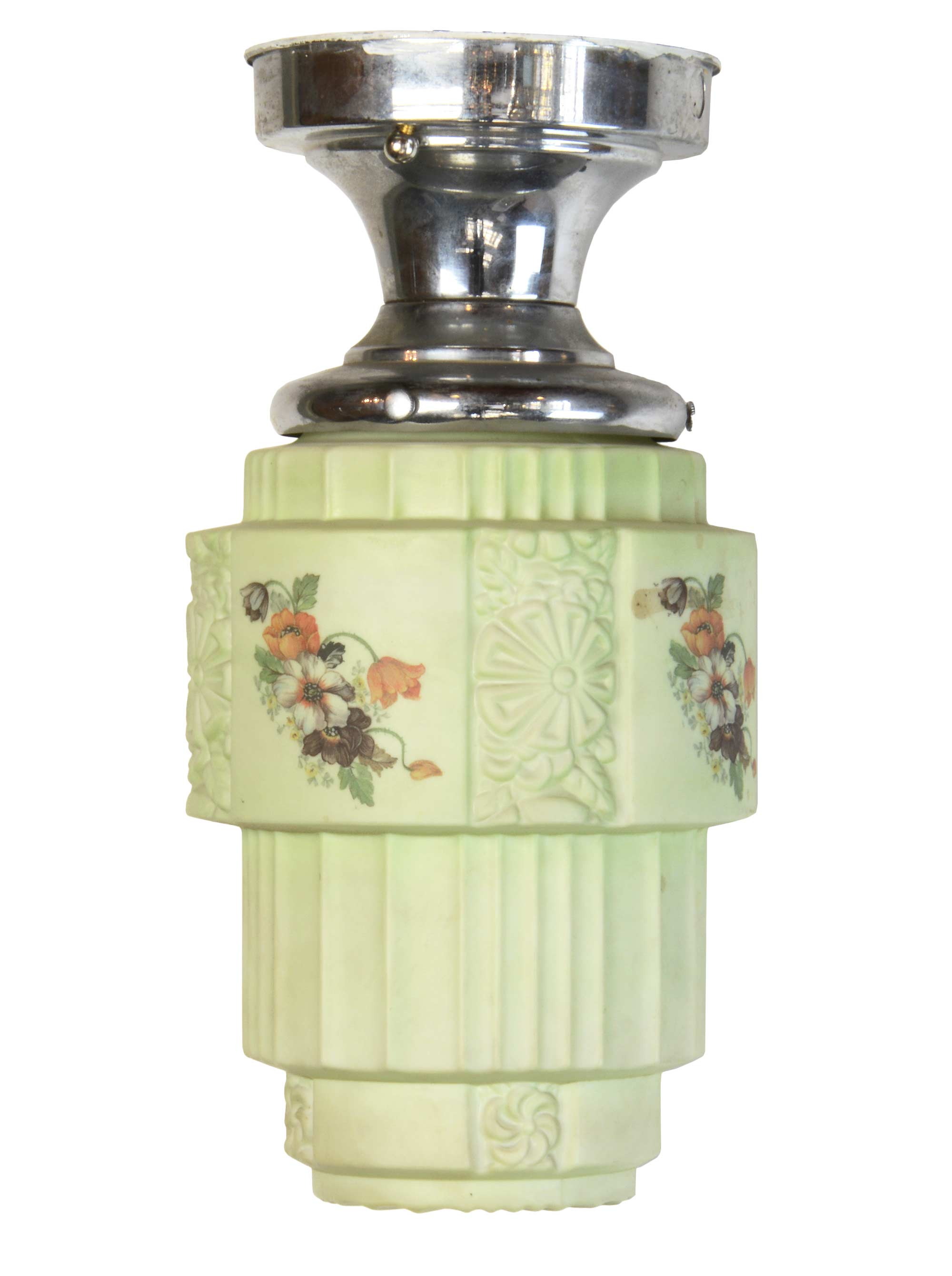 green floral deco flushmount