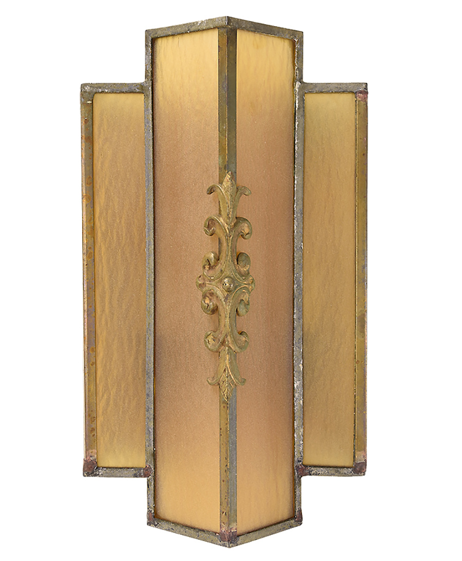 angular art deco brass and amber glass sconce pair