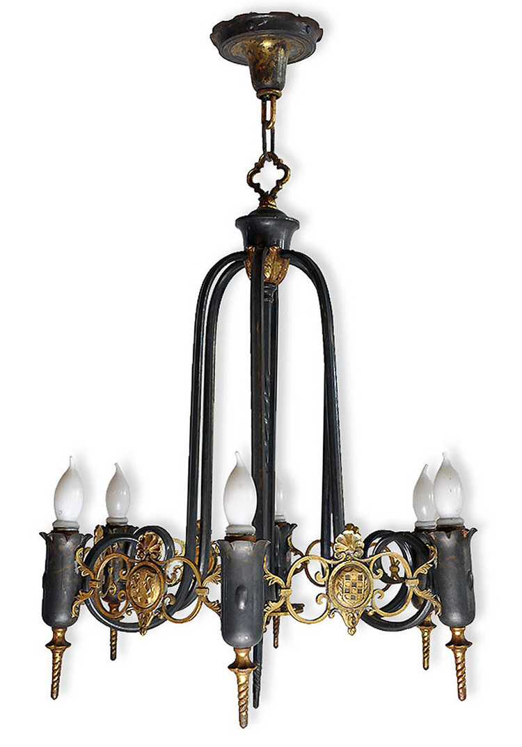 six-light bras and iron gothic chandelier