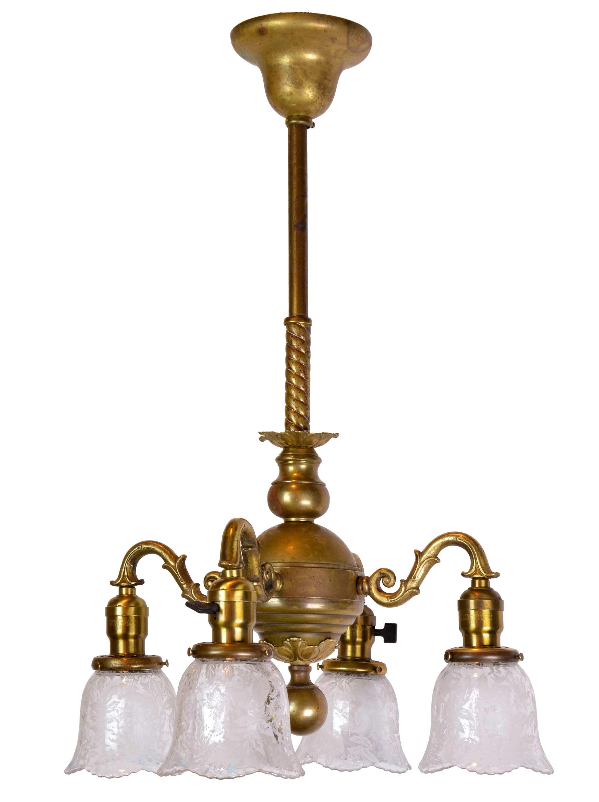 victorian 4-arm brass chandelier