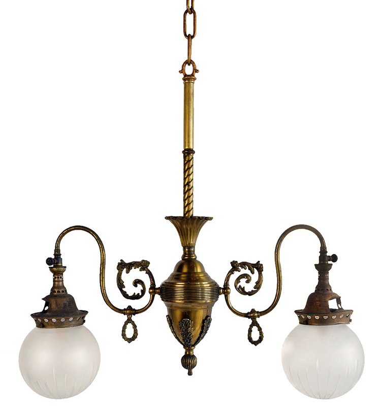 two-arm victorian gas/electric chandelier