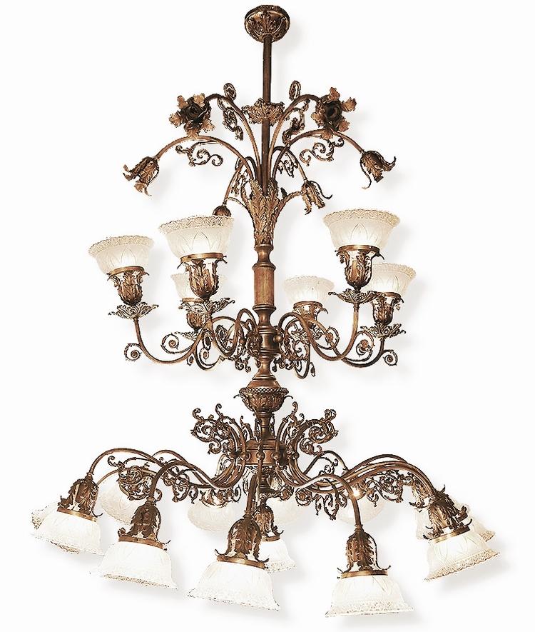 brass multi-light victorian chandelier