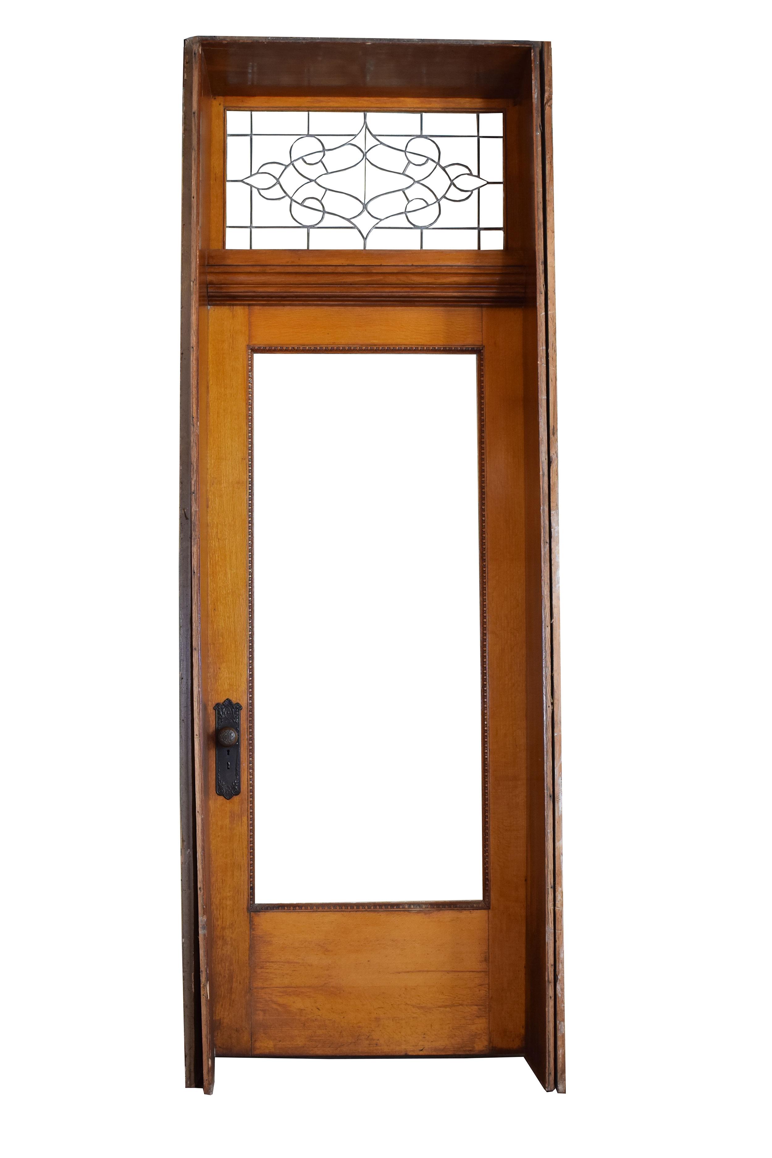 quartersawn oak victorian exterior door with transom