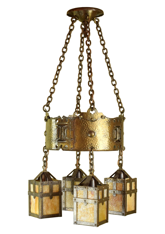 arts and crafts slag glass chandelier