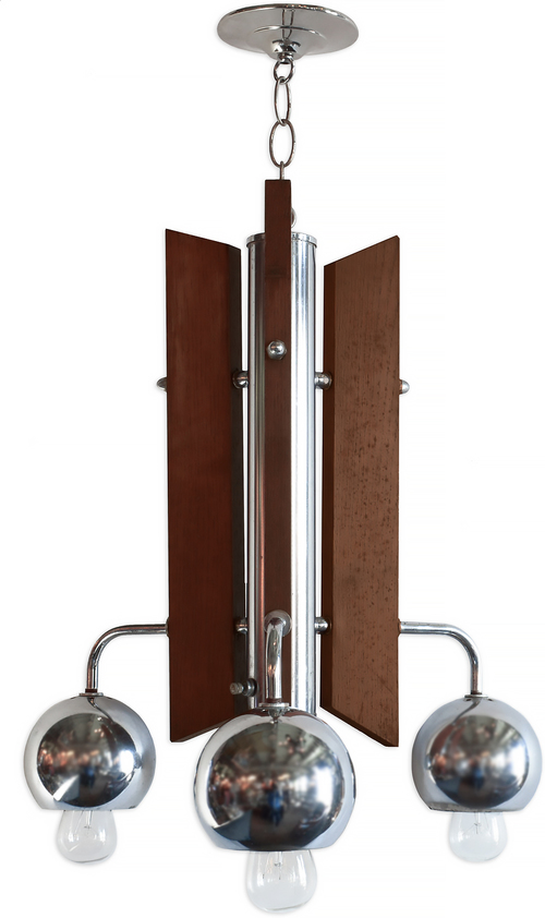 midcentury wood & chrome fixture
