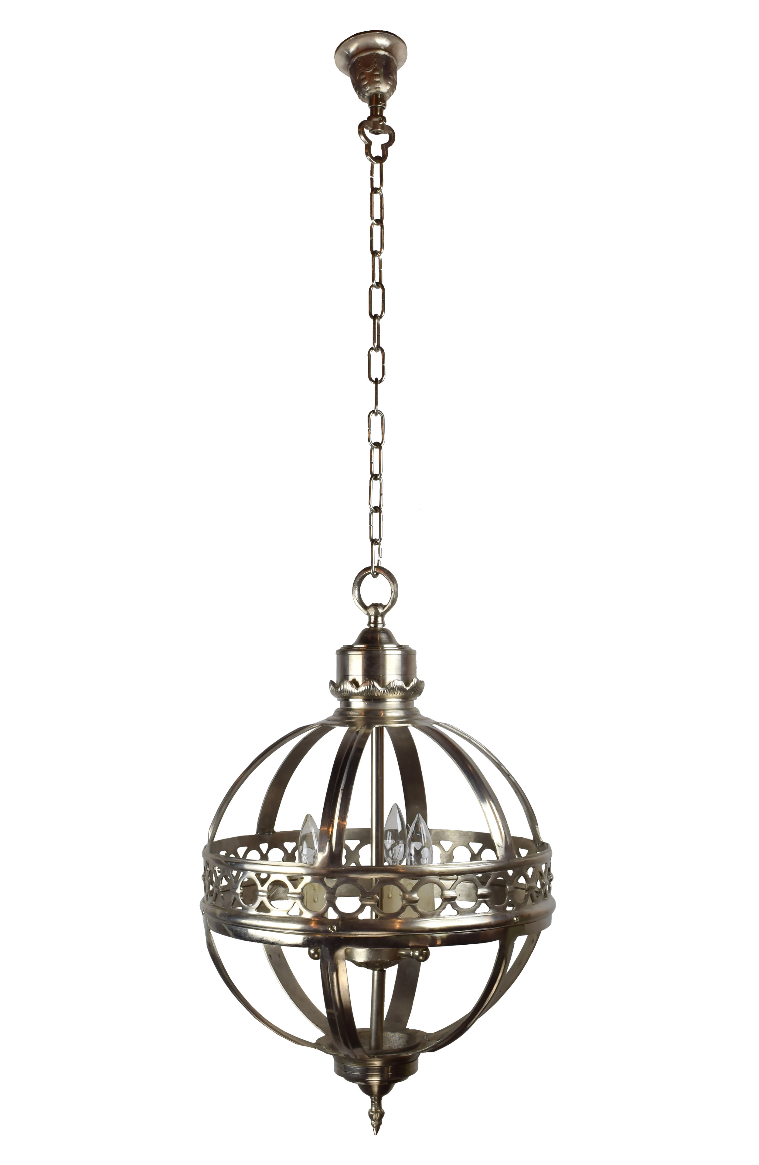small spherical 3 candle fixture