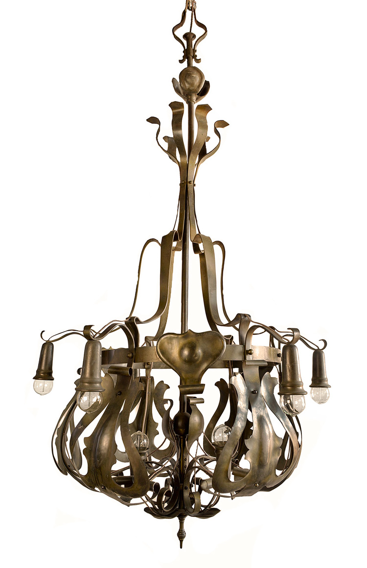 brass art nouveau chandelier