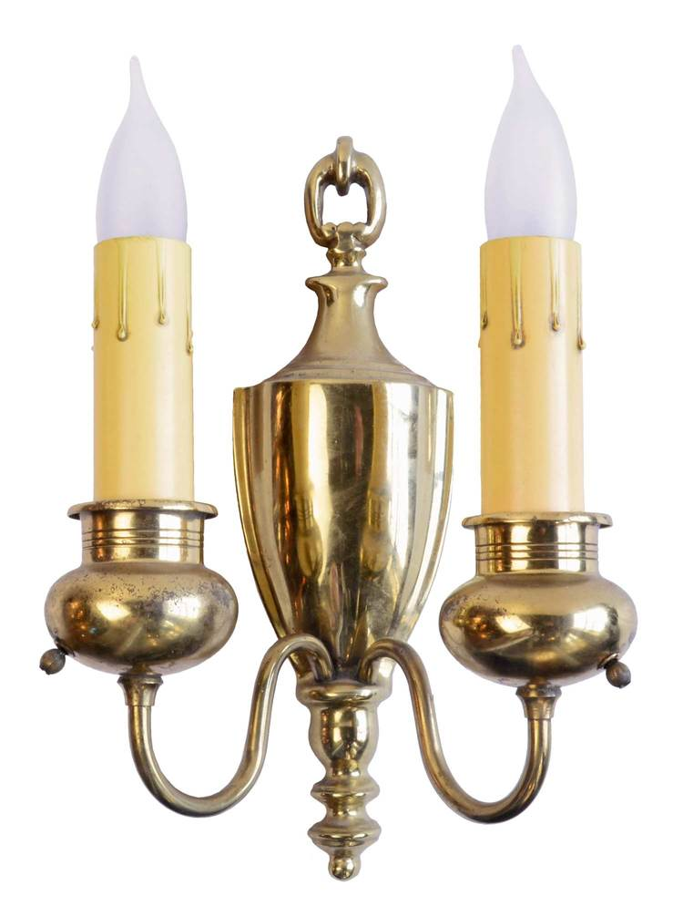polished brass colonial sconces