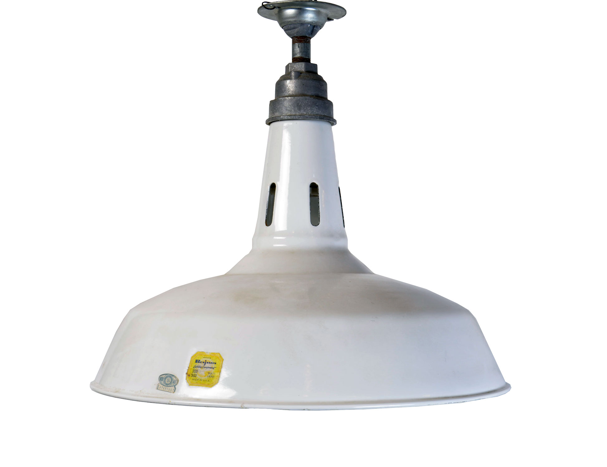 white enamel industrial light with vent