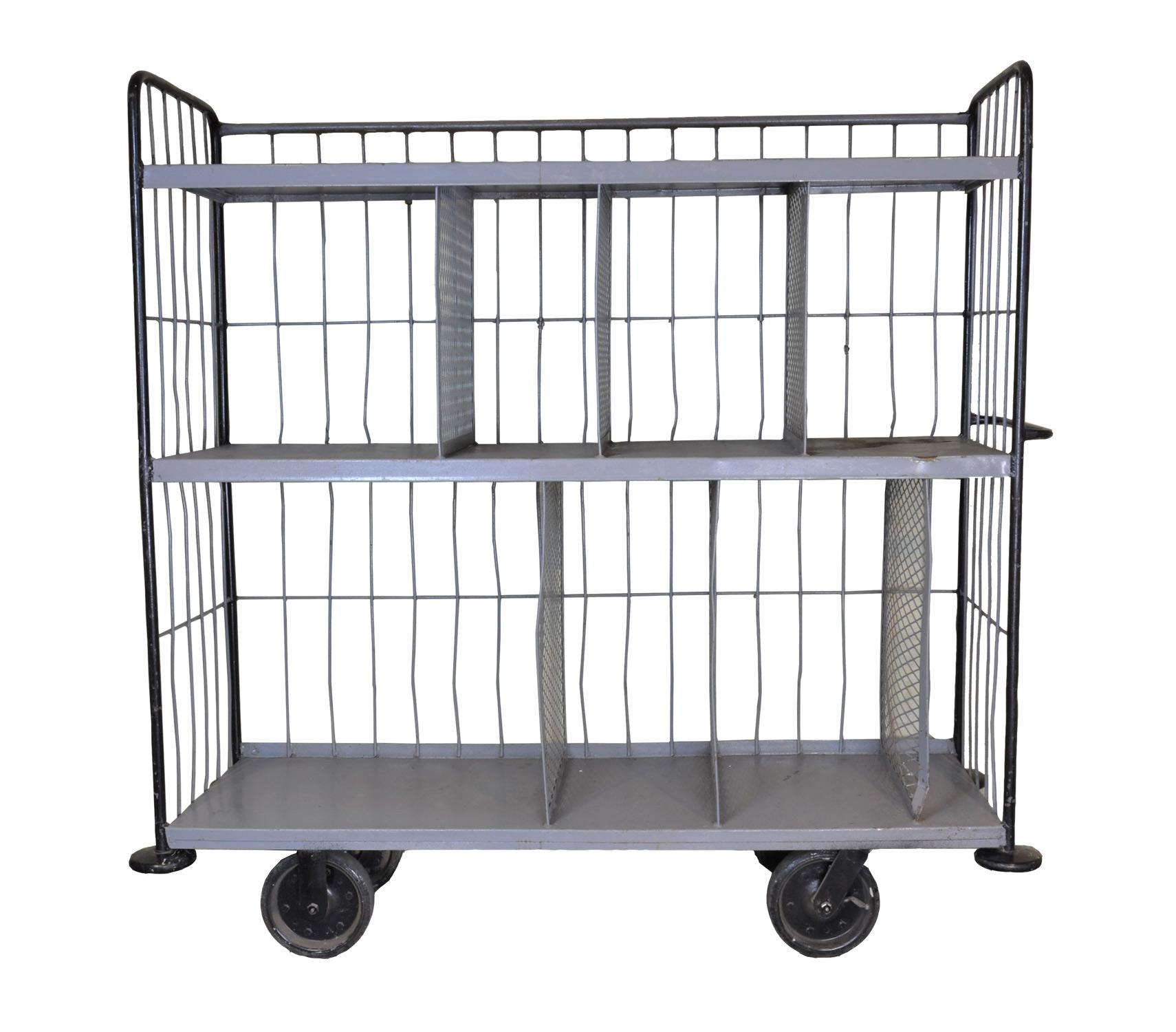 large steel warehouse cart