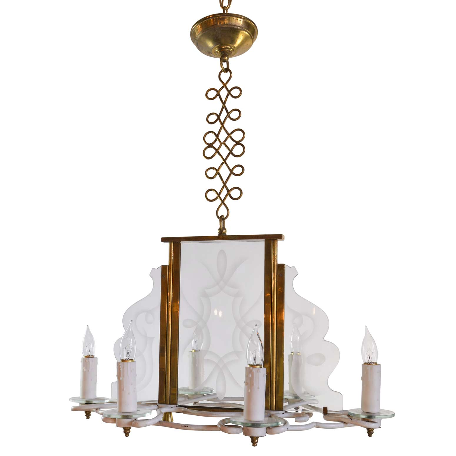 60's etched glass chandelier