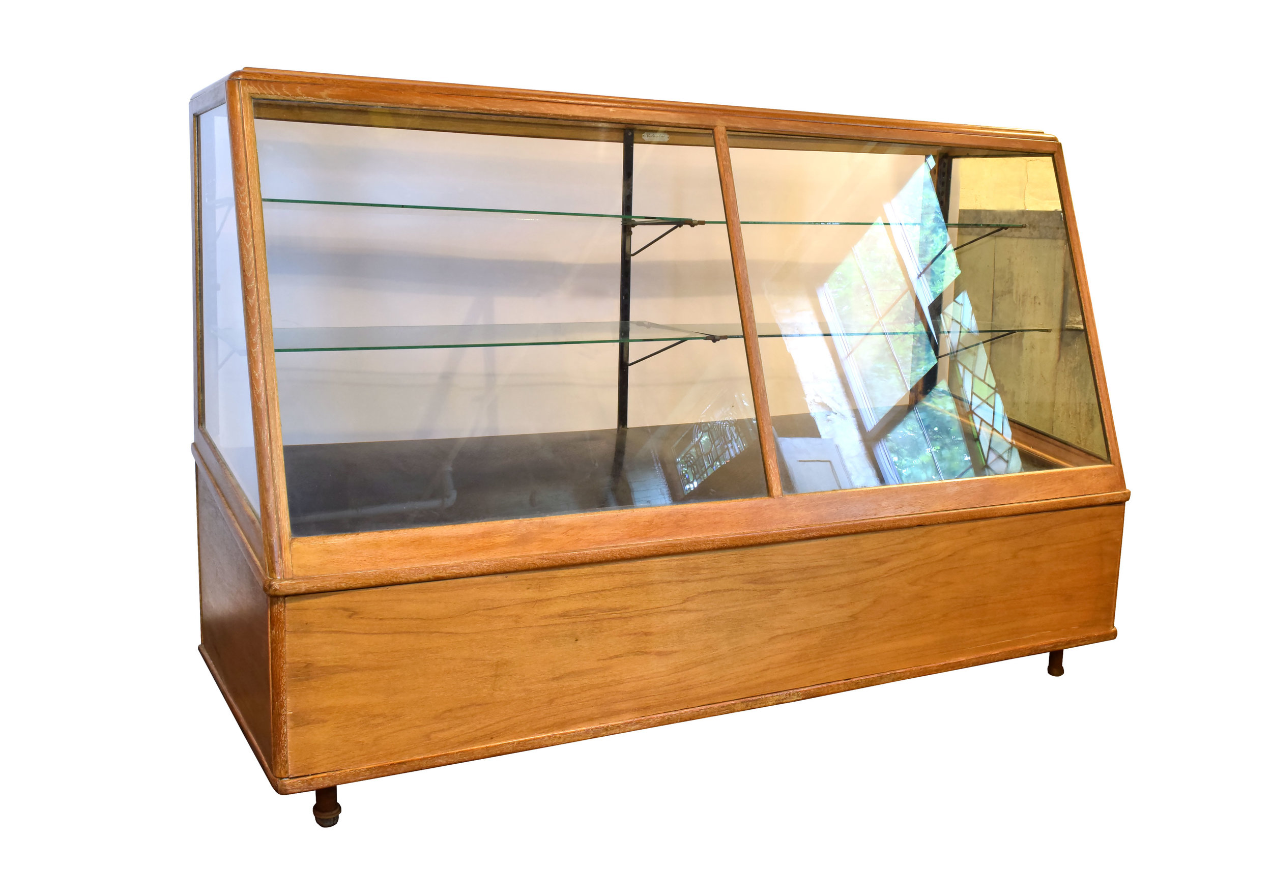 blonde oak display case