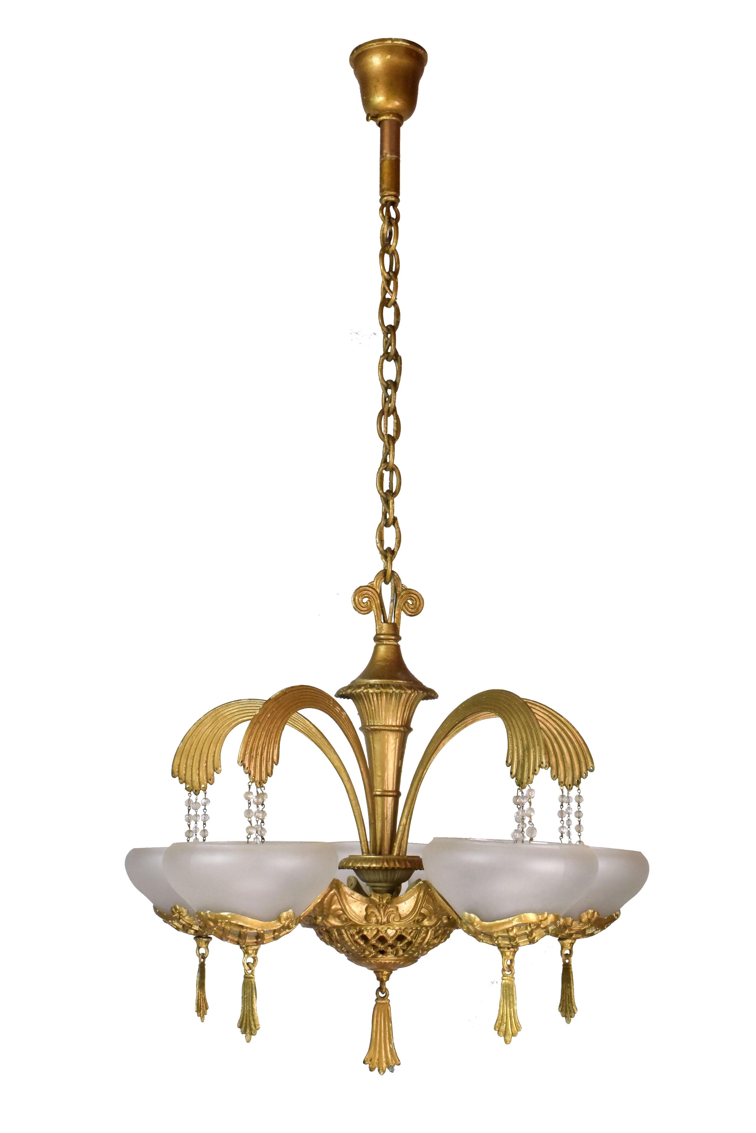 Architectural Antique's Art Deco Five Arm Brass Chandelier
