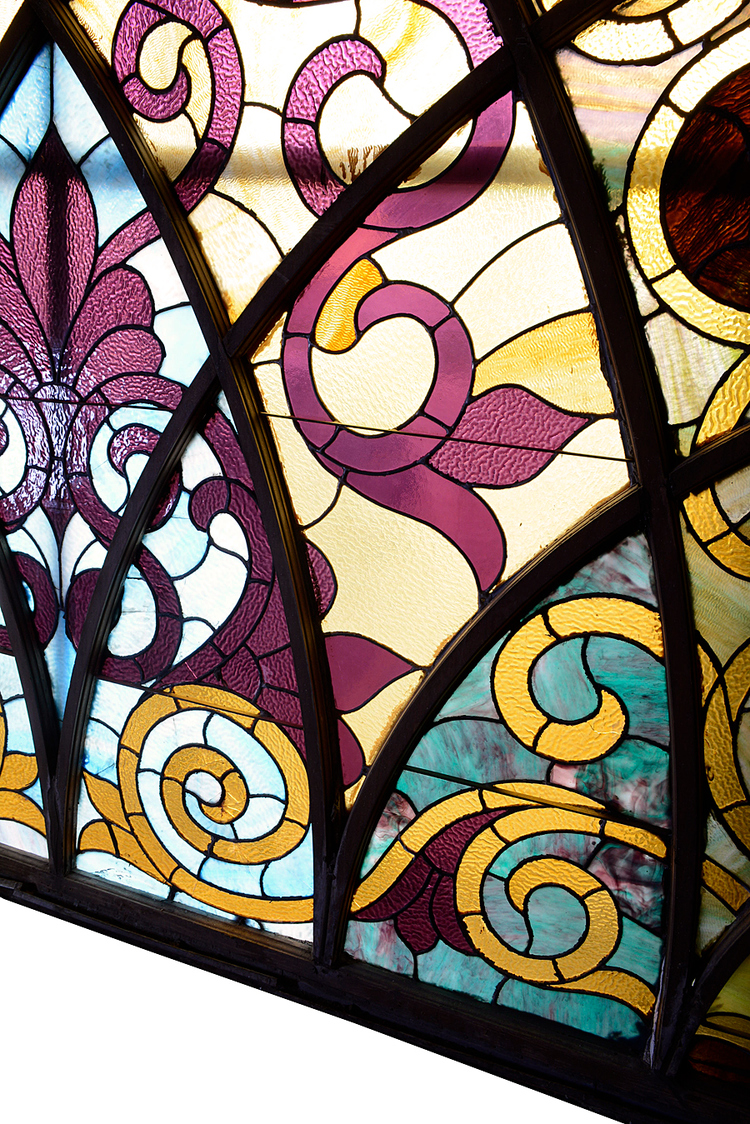 Architectural Antique's Arched Victorian Stained Glass Windows