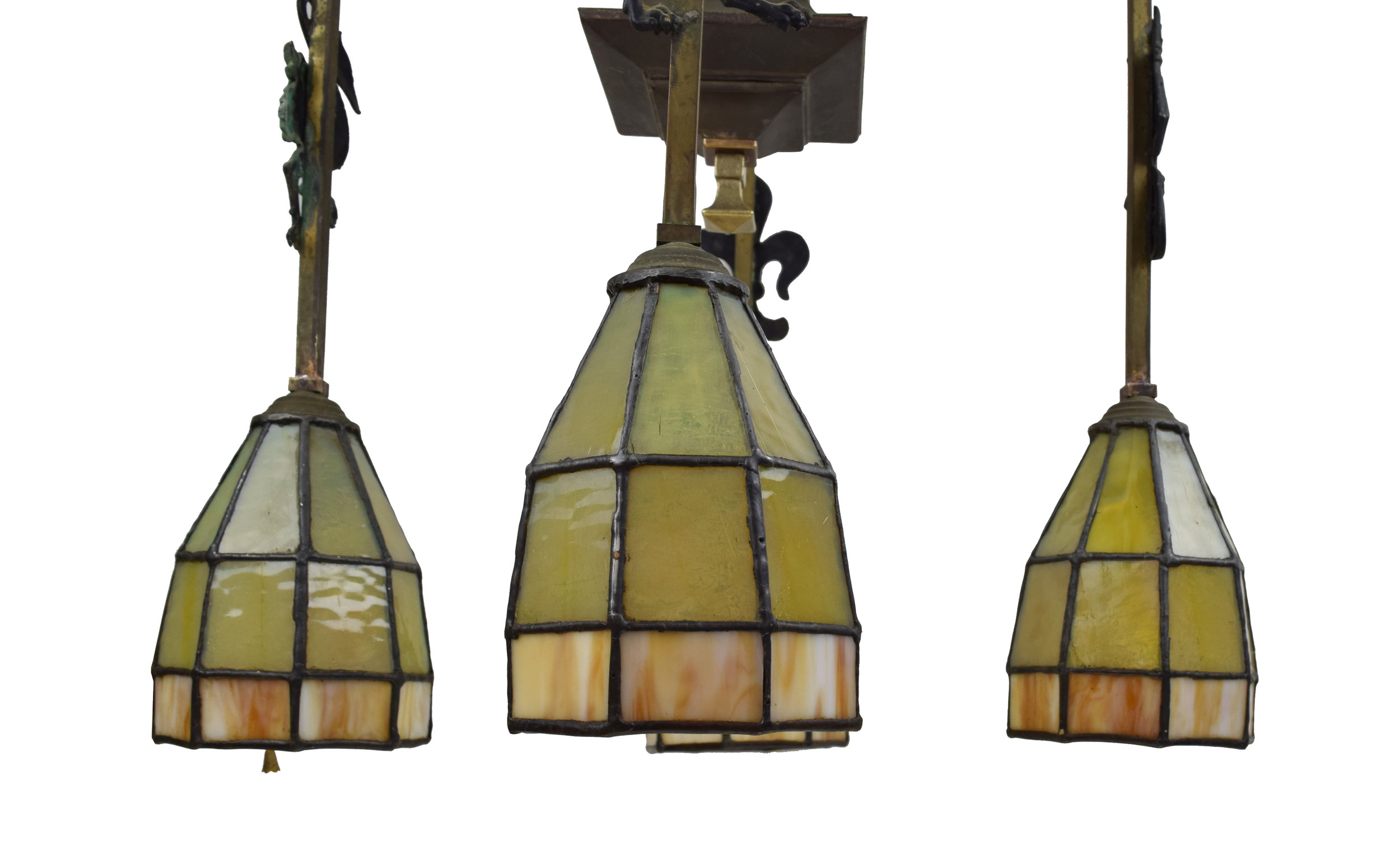 Architectural Antique's Gothic Arts & Crafts Chandelier with Leaded Glass Shades