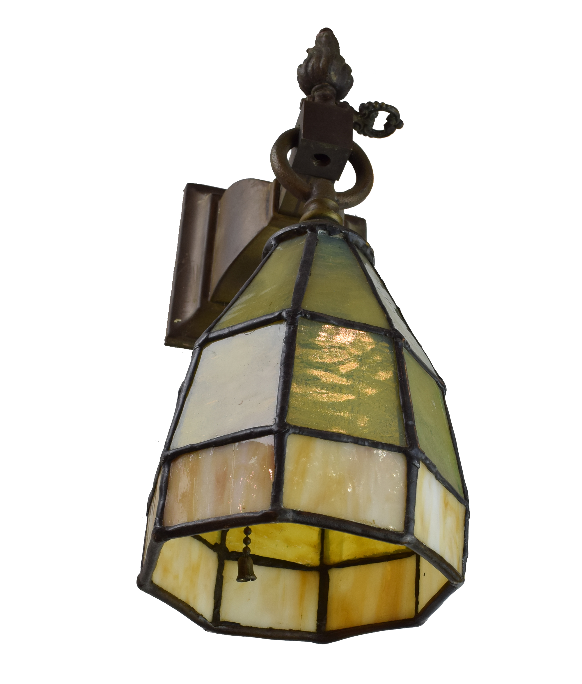 Architectural Antique's Gothic Arts & Crafts Sconce with Leaded Glass Shades