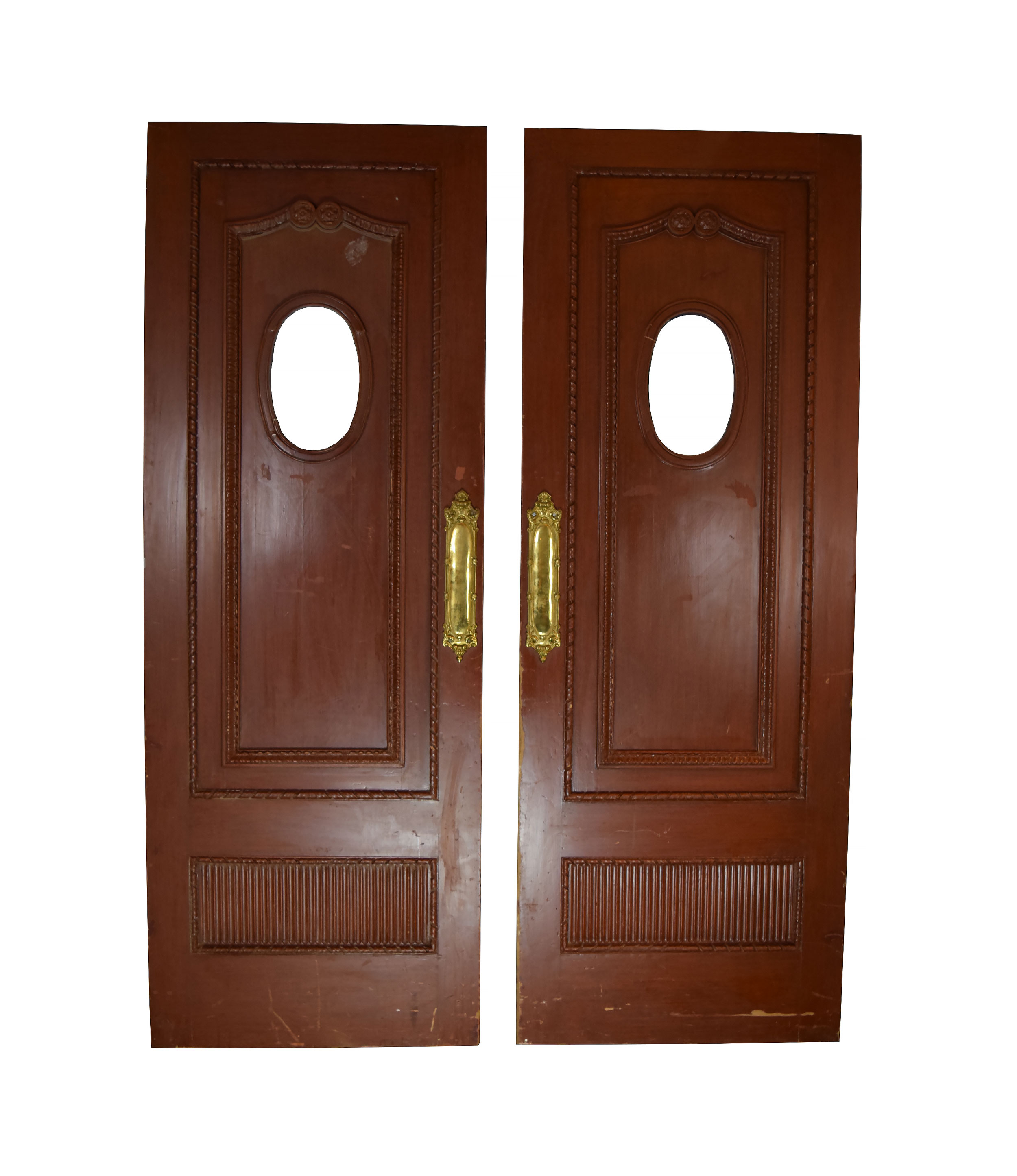 victorian entrance door pair with oval windows