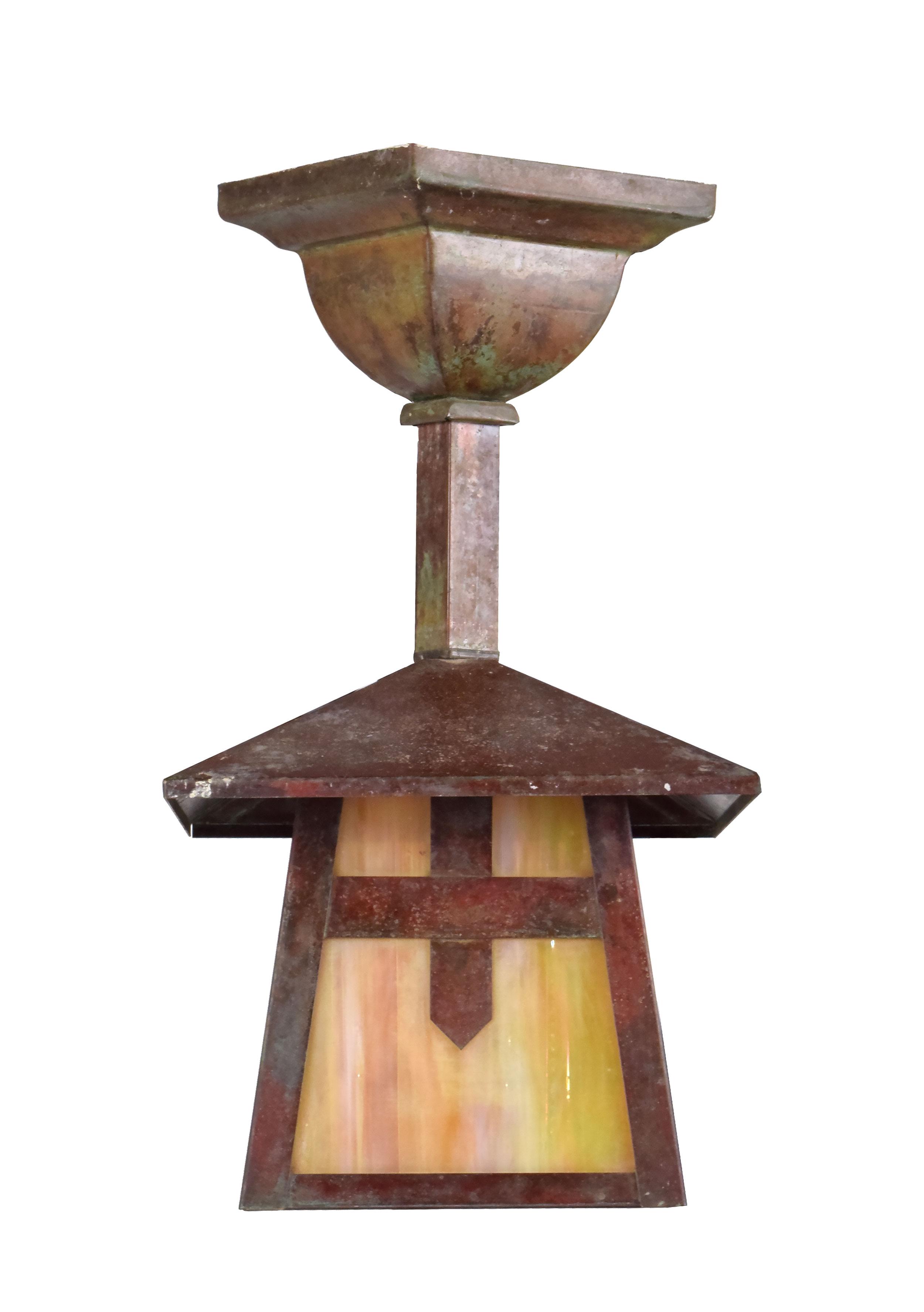 arts & crafts brass slag glass pendants