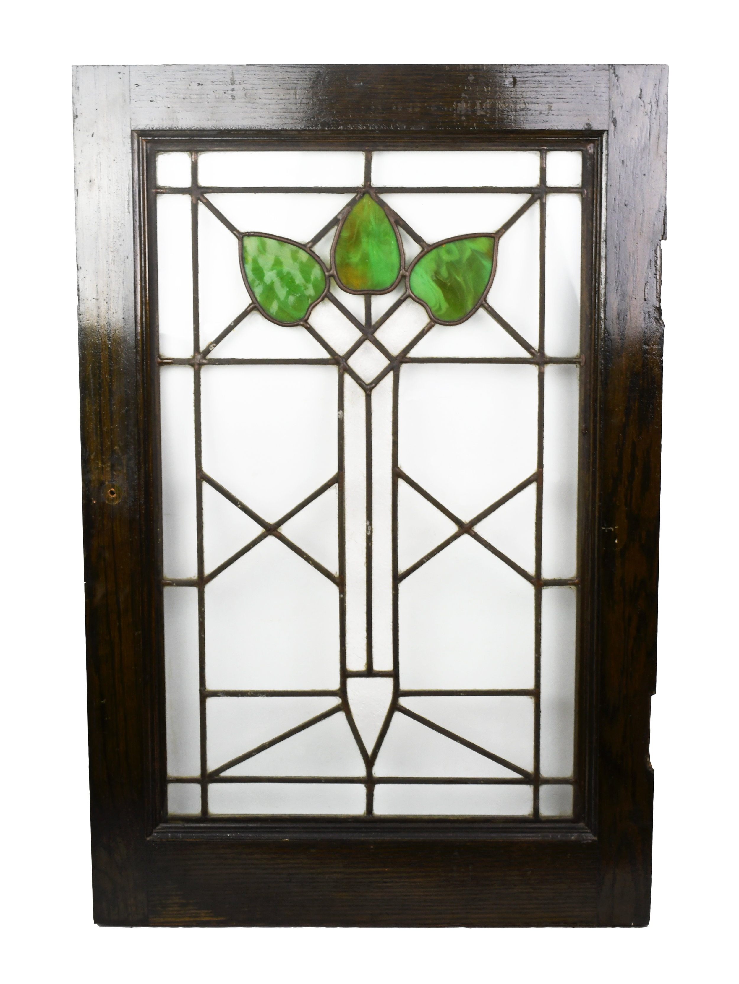 arts & crafts window with leaves