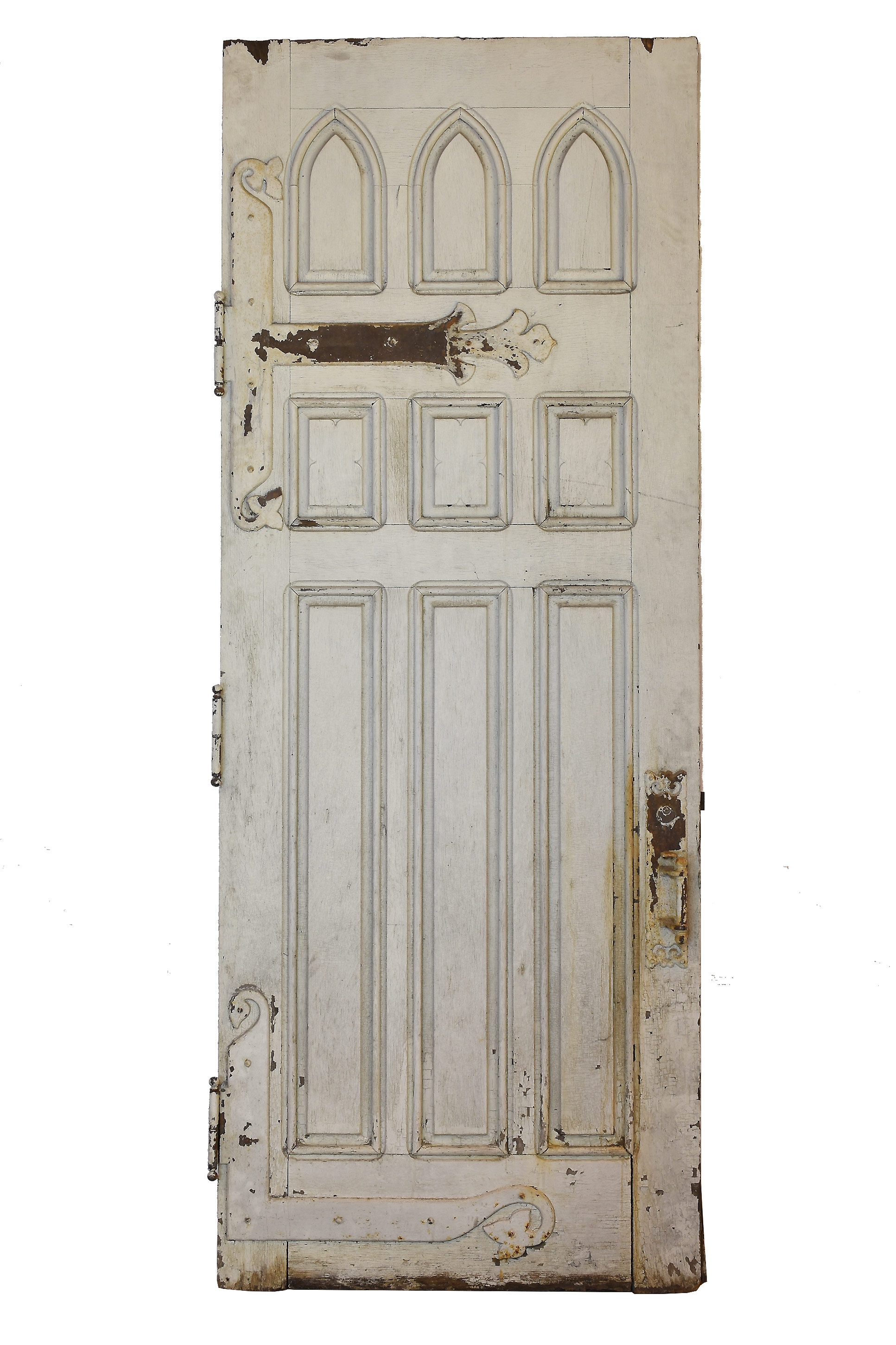 oversized gothic door with strap hinges