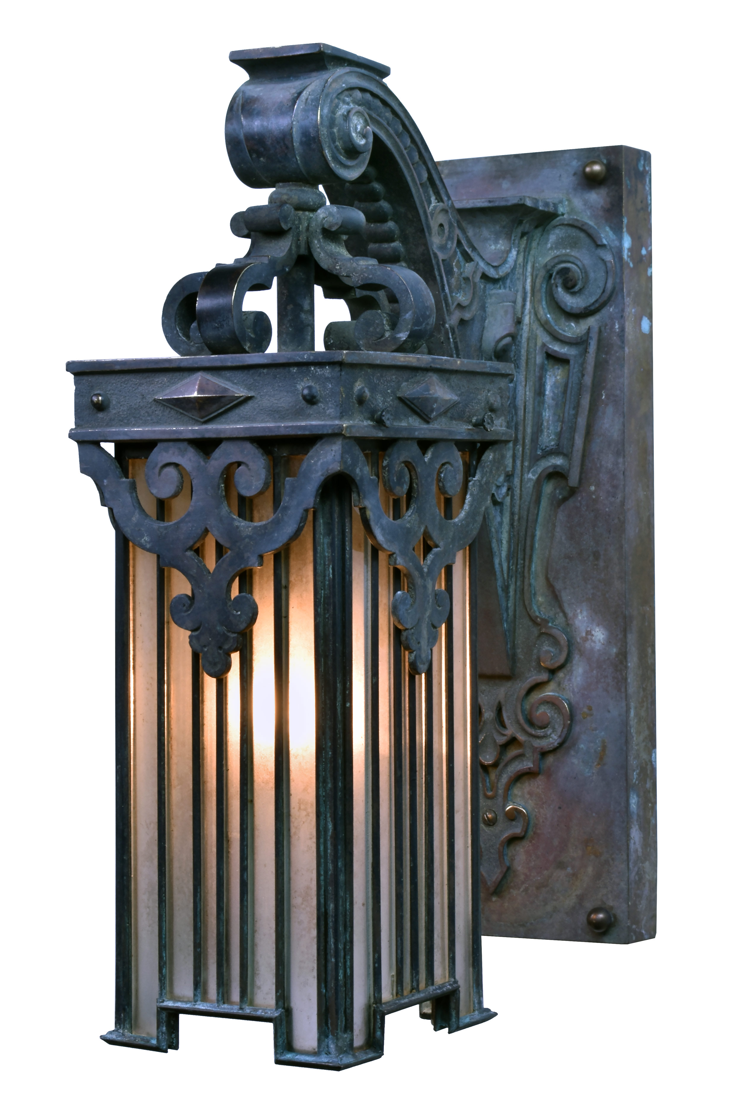 47236-cast-bronze-sconce-with-leaded-glass-shade-angle-lit.jpg
