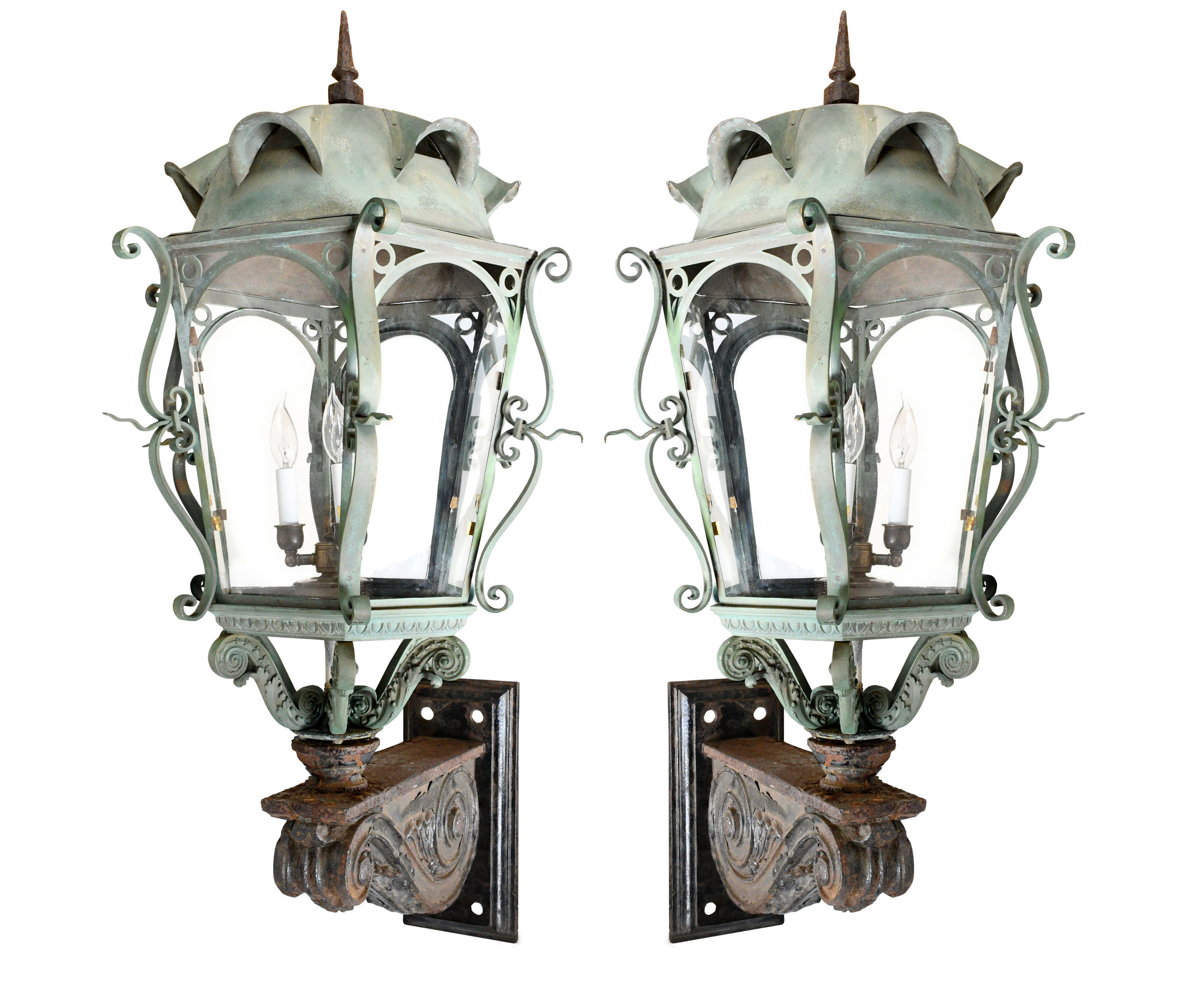 massive victorian copper and iron sconce pair