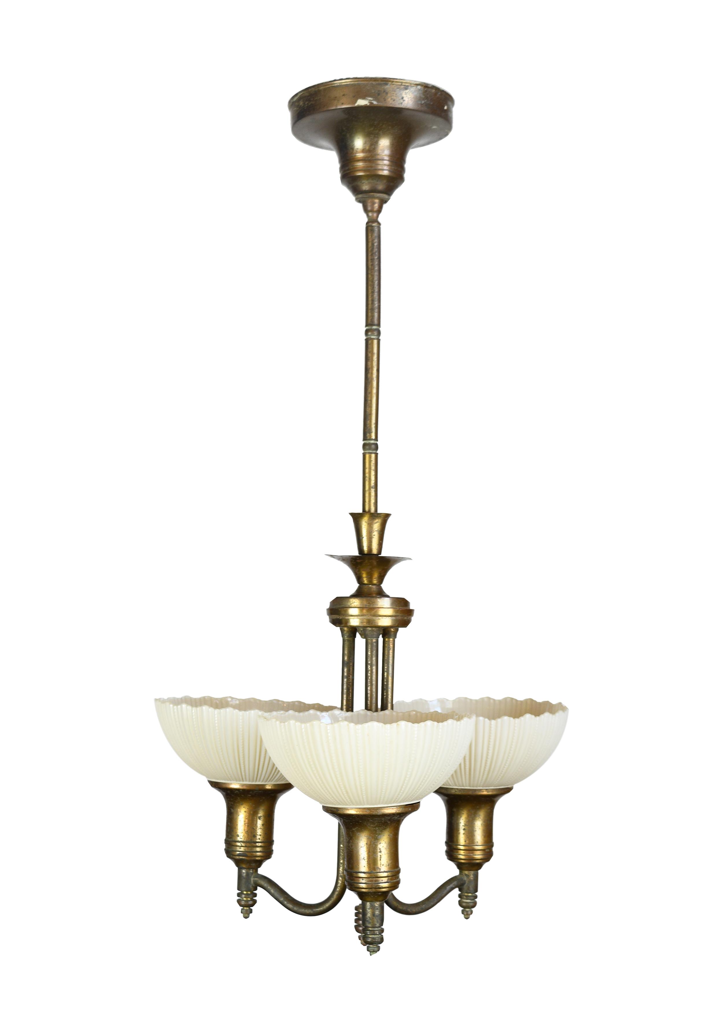 3 light deco pendant with custard shades