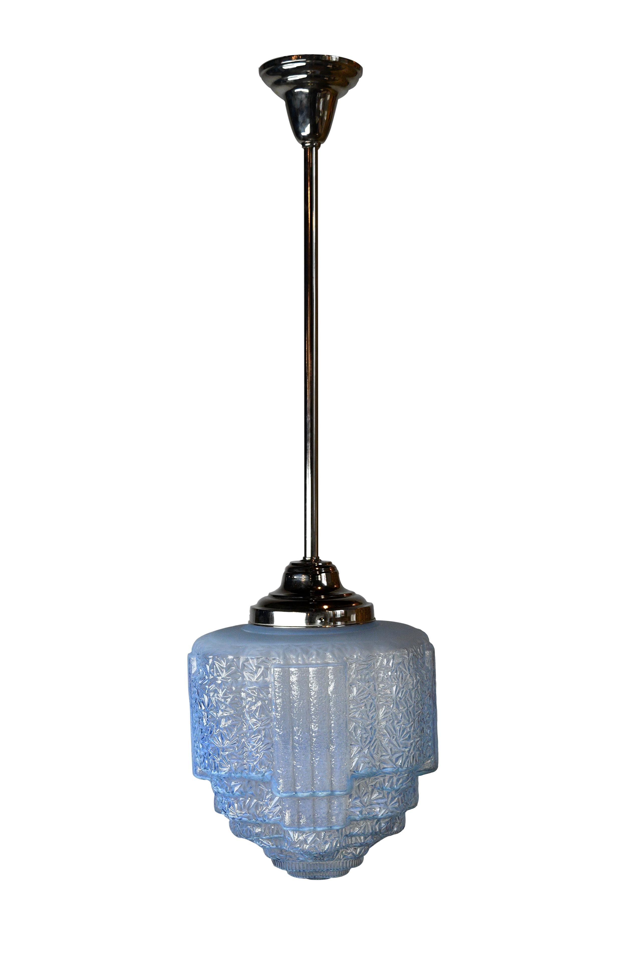 blue vaseline glass art deco pendant