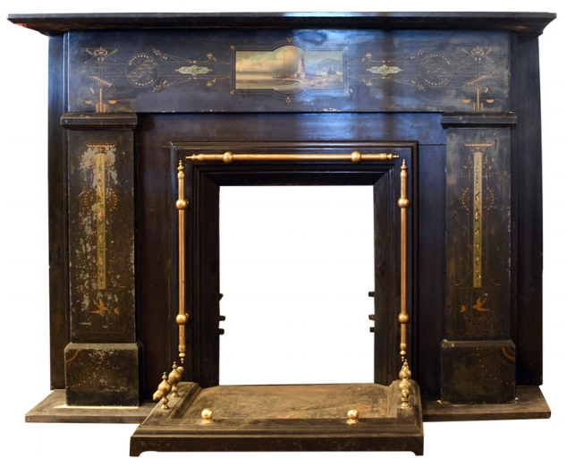 Slate Mantel with Lighthouse Motif