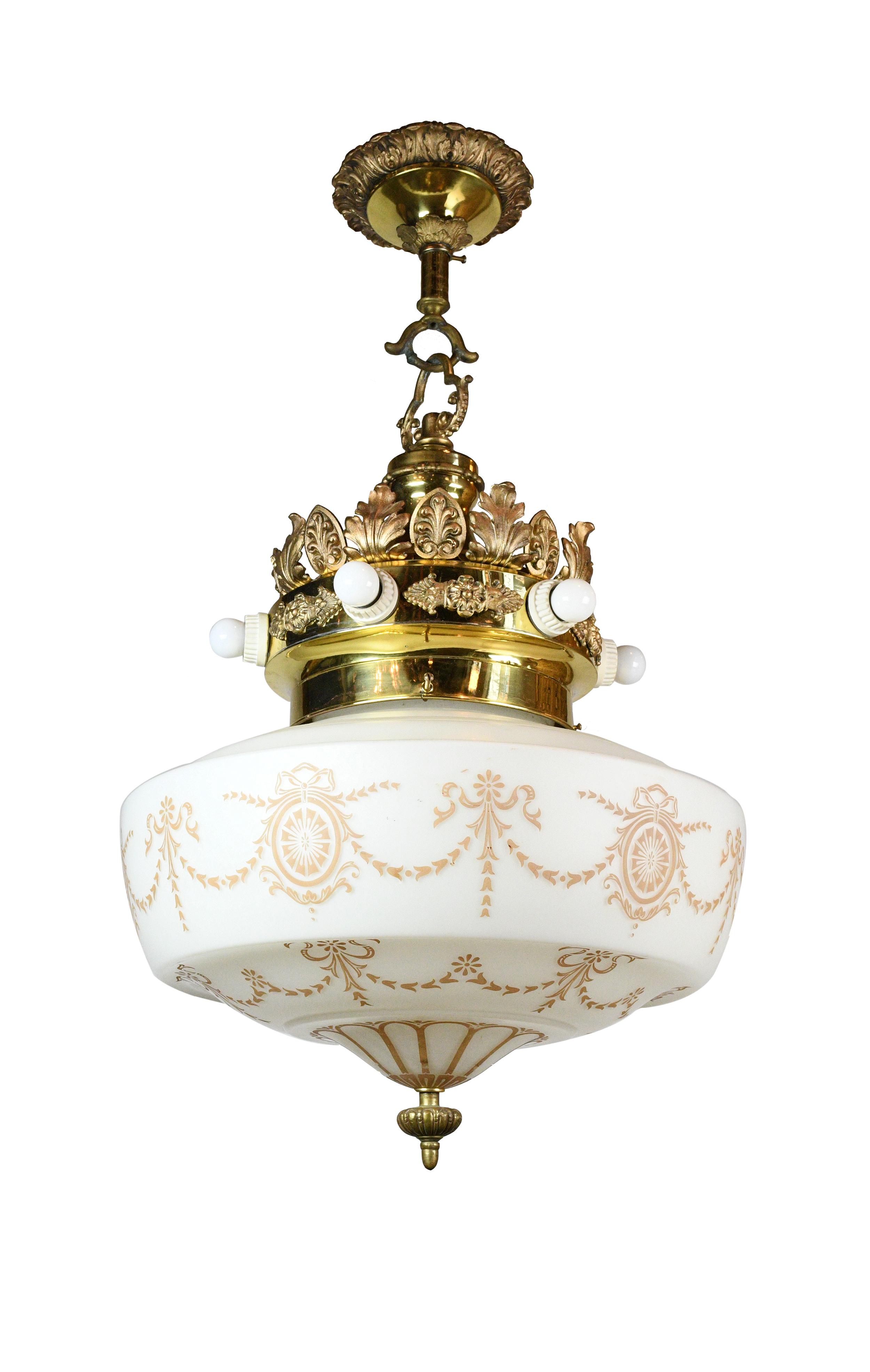 seven light victorian brass pendant with shade