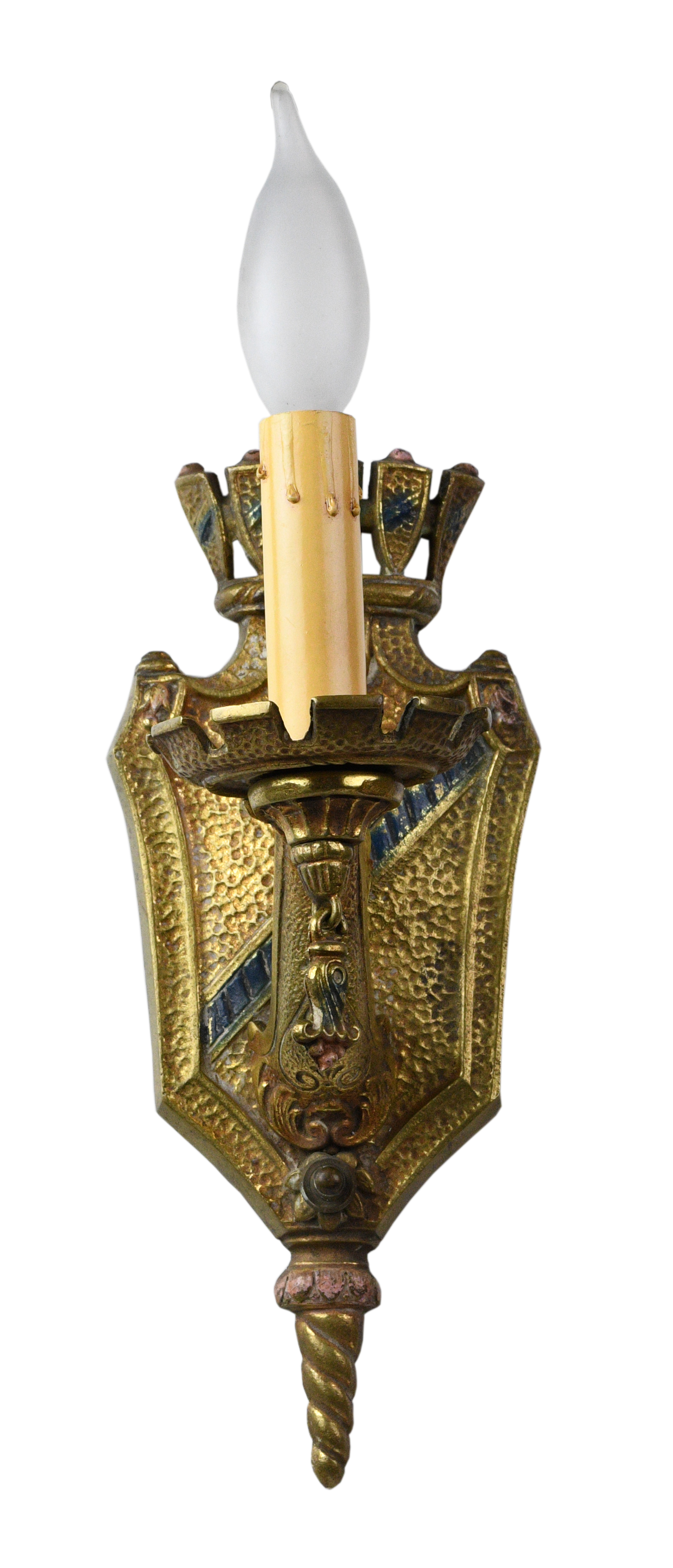 cast brass single candle tudor sconce