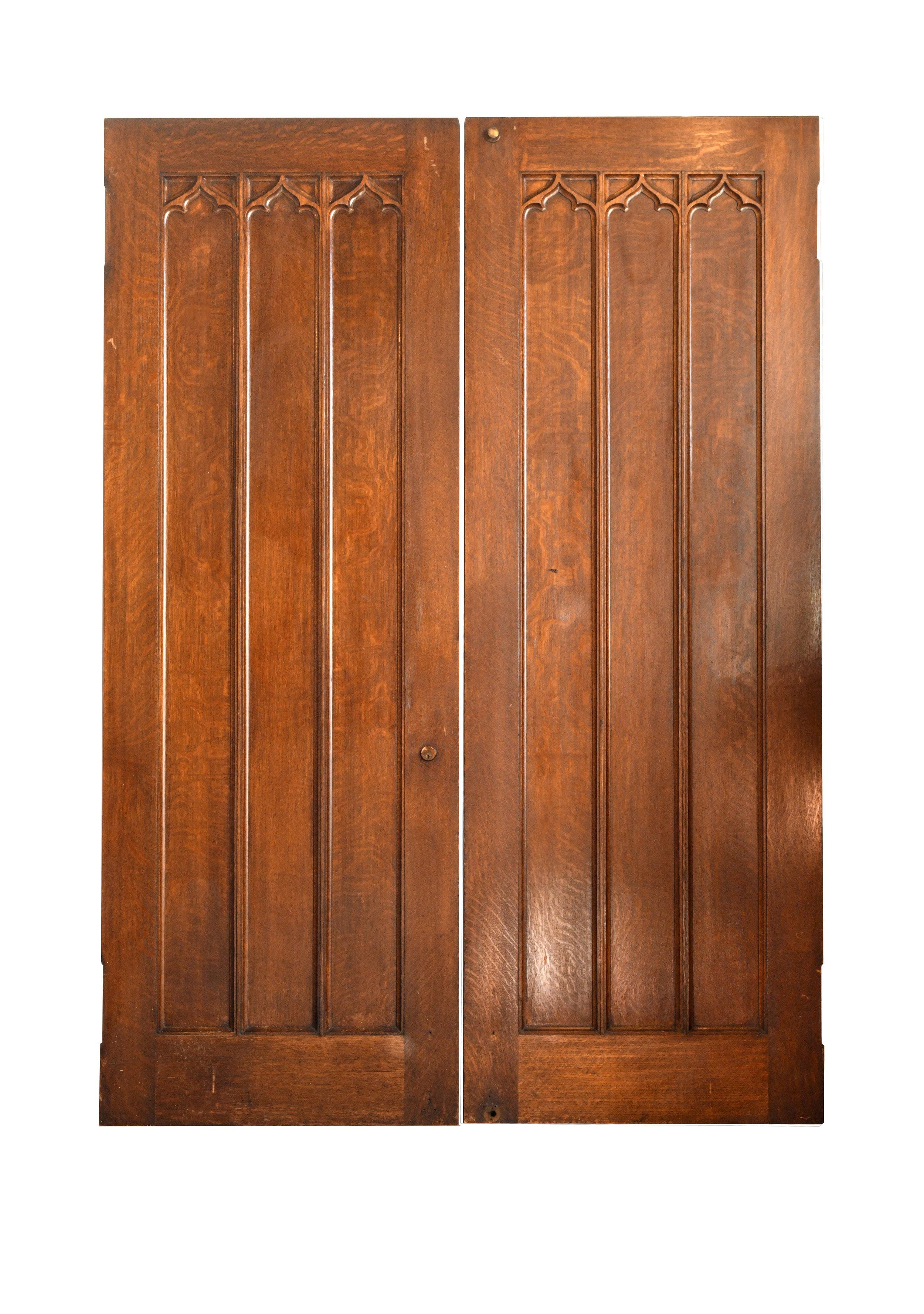 tall oak swinging double doors