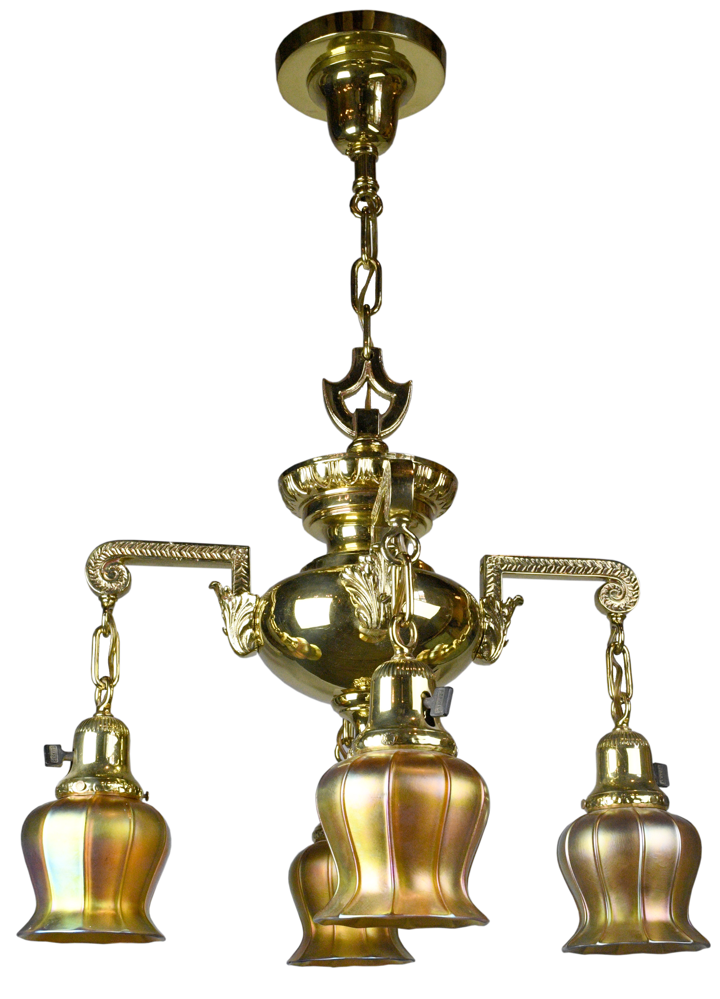 brass 4-arm victorian chandelier with quezal shades